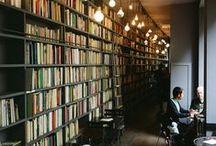 bookshelves, libraries...