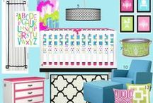 Nursery Themes // South Beach Nursery / Love the modern feel of these South Beach/Miami inspired pieces! Hot Pink, Aqua, Lime Green, Black and White, Baby Girl Nursery