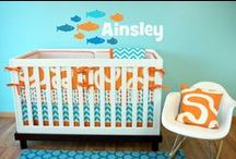 Nursery Themes // Orange & Aqua Fishy Nursery / Adorable aqua and orange themed nursery items, including adorable fish bedding! Underwater, Ocean, Nautical, Fish, Aqua, Orange, Baby Boy Crib Bedding, Gender Neutral Nursery Themes