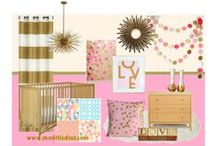 Nursery Themes // Mid Century Modern Girl / What I chose for my little girl! Modern yet retro, pink, coral, metallic gold, aqua and a touch of lime. Adorable baby girl nursery:)