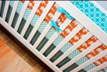 Aqua & Orange Nurseries / Aqua and orange nursery ideas! baby boy nursery, gender neutral nursery