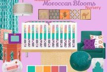 Nursery Themes // Moroccan Nursery / Love these Moroccan accents for your nursery! Lattice, Purple, Coral, Teal, Turquoise, Baby Girl Nursery