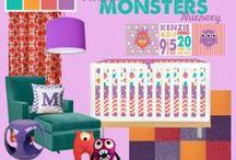 Nursery Themes // Monster Nursery / Little monsters for baby girls' nursery! Coral, Purple, Orange, Turquoise, Teal