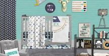 Nursery Themes // Mister Hipster / A modern gentleman hipster nursery crib bedding! Vintage and industrial, featuring deer antlers, canoe paddles, mustaches and music records in mint, turquoise, navy and gray.