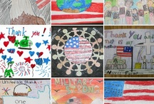 "{kids say ""thanks""} / ...showing love to our troops & veterans..."