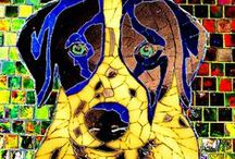 Dog Art / For the love of dogs, artwork created in paper, plastic, metal, felt, beads, yarn, thread, cans, mosaics.