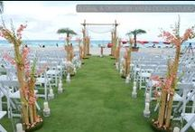 Outdoor Beach Wedding Ceremony Decor and Floral Arrangement Ideas / An exquisite wedding ceremony that took place on the lawns of the Acqualina Resort & Spa near the beautiful beaches of Florida. This gallery consist of a variety of picture with different angles detailing the ceremony decor and floral arrangements.