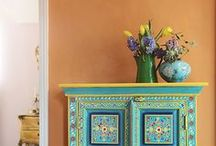 Indian bedroom and hall . / Chalk paint, kantha quilt, orange,Green, India,wine case wall shelves,painted bright cupboards,retro lamp. / by DIY BOHO HOME