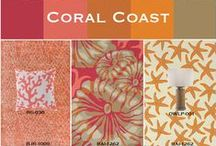 Coral Coast / Coral, oranges and sand-inspired neutrals lend warmth to a coastal home, making them a color-savvy alternative to traditional cool blues. Surya offers a variety of indoor and outdoor products is this inviting palette inspired by the colorful life under the sea.