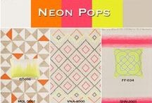 Neon Pops / Electrify your home and create a trendy designer look by adding neon accents to a neutral setting. Find pops of bright pink, yellow and orange in Surya rugs and coordinating accessories.
