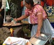 Mexican Corn Tortillas / Mexican ladies making tortillas the old fashion way.