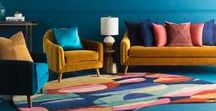 """Spring 2018 Trend: Disrupt / Surya's """"Disrupt"""" trend for Spring 2018 features plush velvet textures and metallic gold accents, complimentary to the amorphous, moody patterns and forms. Orbs and curves, in unexpected colors, combine seamlessly to create a truly modern space."""