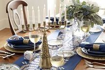 Celebrate Hanukkah! / Celebrate the 8 nights of Hanukkah with a elegant setting of blue, white and hints of gold.