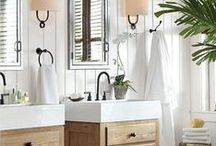 Bathrooms / Our ingredients to the perfect bathroom? Plush towels, bright lighting, a big bathtub and beautiful mirrors.