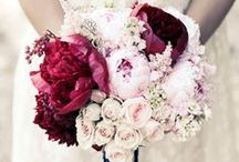Blush pinks and dark burgundy