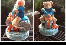 Boy diaper cakes, BabyLuvsCakes / BabyLuvsCakes designed these adorable diaper cakes for clients who want to celebrate a new baby with a custom handmade gift.