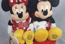 Twin diaper cakes, BabyLuvsCakes / Diaper cakes designed for twins by Diana Lee for BabyLuvsCakes.