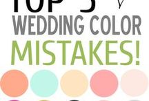 Wedding Colors / Many couples choose to select a color scheme for their wedding.  Whether it be bright and cheery pinks and yellows, or more subdued hues, there are so many options when it comes to color schemes.  Consider looking at the color wheel and deciding if you would like to use a monochromatic scheme, or choose several different colors.  Most of all, have fun choosing your colors.