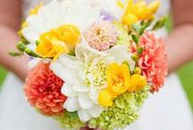 Wedding Colors - Pink, Yellow and Coral / With the bright yellows, oranges, and pinks you will be sure to love the exciting photos we have collected with warm and sunny days in mind.  The fun and cheerful wedding ideas featured here have us daydreaming of sundresses, sandals, and flowers in our hair.