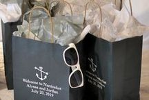 Wedding Gift Bags / Gift bag ideas to welcome your out of town wedding guests.  From custom personalized bags to unique filler ideas, explore creative contents to put in each guest's thank you bag.