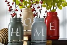 {Homemaking} Mason Jar Magic / It seems like everywhere you look, artistic minds are coming up with new and creative ideas for revamping mason jars. From hand soap and condiment dispensers to solar lights, from one-of-a-kind chandeliers to bathroom organizing systems...mason jars can be repurposed all over your home.