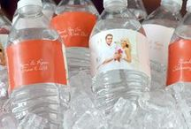 Wedding Water Bottle Labels / Dress up the bottled water at your wedding reception with waterproof vinyl labels personalized with a wedding design, monogram or photo of the bride and groom, wedding date or a personal thank you message to your wedding guests.
