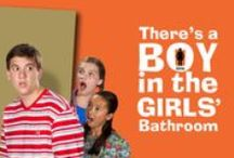 """There's a Boy in the Girls' Bathroom / OCTOBER 9, 2015 – NOVEMBER 1, 2015 • Ages 8+ Newbery and National Book Award winner, Louis Sachar, author ofHoles and Sideways Stories from Wayside School, says Bradley Chalkers (the """"boy"""" in the title) is his favorite character. All the kids think Bradley's a """"monster,"""" and Bradley seems to agree until the new school counselor sees the likable kid beneath the bully. Our humorous and poignant production will show if the """"monster"""" or the """"likable kid"""" wins the day."""