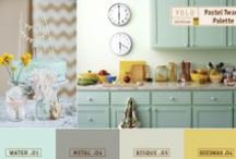 Pastel Twang - Spring Color Trends / We transition from the intensity of winter to the gentleness of Spring with the delicate hues of WATER .01, METAL .04, and BISQUE .05. These soft-spoken companions complement the sassy accent BEESWAX .04 for a fresh, updated and little bit edgy aesthetic. / by Colorhouse Paint