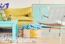 Sunny Style / Embrace your Sunny Style with the vibrant color combination of yellow, orange, and turquoise. Summer is all about brights....bring Sunny Style into your home with paint colors that pack a little punch!