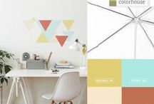 Color Stories: Eclectic Geometric Palette / Sharp edges and unexpected color combinations collide to create a pleasing palette.  The pastel peach CREATE .01 and robin's egg blue SPROUT .01 lose their sweetness when combined with the brassy BEESWAX .04 and contemporary coral CLAY .07.  Layered together in a geometric wall pattern or spread out room by room, these colors shatter expectations around traditional design and create a unique look that reflects your individual style.