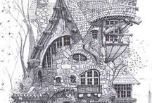 Buildings / Architecture, buildings, drawing, sketching, photography, eerie, abandoned, beautiful, whimsical