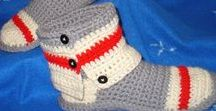 Crochet Felt Monkey Socks Slipper Boots