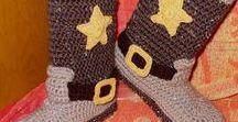 Crochet Felted Adult Cowboy Slipper Boots