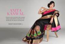 Anita Kanwal | Shop Designer Wear / Color Bazaar Handcrafted saris woven neon colors