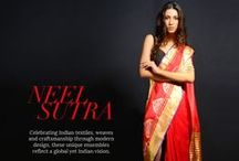 Neel Sutra | Designer Wear / Celebrating Indian textiles, weaves and craftsmanship through modern design, these unique ensembles reflect a global yet Indian vision. View this collection of saris, tunics, and salwar kameez online at Exclusivelyin.com | Shop Now!