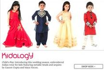 Designer Kidswear | Kidology + Two Feet / Child's Play: Introducing this wedding season, embroidered Indian wear for kids featuring metallic beads and sequins by Gaurav Gupta and Maya Nocon.  Spoil your kid stylish this winter season with reversible quilted jackets, kurtas and suits in vibrant hues featuring bird motifs and velvet detailing.