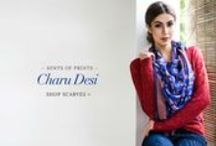 Charu Desi | Shop Scarves! / Hints of Prints: This season, cozy up to the digitally printed colorful mix of scarves in fine knits of silk and wool.