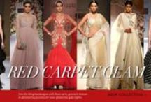 Red Carpet Glam / Join the bling bandwagon with these saris, gowns and dresses in glimmering accents, for your glamorous gala nights.