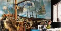 VINILOS INFANTILES DE PIRATAS / Vinilos infantiles de piratas para decorar la habitación de un niño o niña. Impresionantes fotomurales con barcos pirata y paisajes de mar, islas, grumetes y todo lo concerniente a la temática de los piratas adaptadas a decoración infantil.