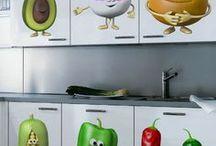 VINILOS INFANTILES FRUTAS Y VERDURAS / Vinilos decorativos de frutas y verduras, ideales para niños pequeños, comedor escolar, cocina, guardería etc. Frutas y verduras diversas para decorar la pared
