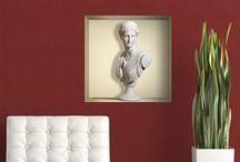 """VINILOS DECORATIVOS DE NICHOS O ESTANTES INTERIORES / Adhesivos de vinilo que simulan un nicho o estante decorativo en la pared, diseñados con la técnica del trampantojo o """"Trompé l'oeil"""". Impresos en alta resolución sobre vinilo especial para paredes. Ideales para decorar salones y habitaciones, combinables con cenefas, vinilos y fotomurales."""