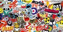 Sticker bomb: pegatinas, vinilos y fotomural / Pegatinas y adhesivos sticker bomb convertidos en vinilos y fotomurales con los que decorar tablas de surf, skate o cualquier otro elemento, como muebles, papelería o paredes enteras #stickerbomb