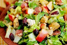 SALAD RECIPES! Everything! / Everything salad is right here! Pastas, meat, veggies, green leafy, macaroni, and fruit salads. 'Salad is not a meal, salad is a style.'