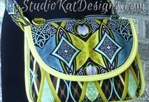 Graceful Greens Bags / Beautiful samples of bags created using a sewing tutorial, pattern, or project featured at PatternPile