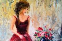 Contemporary impressionist figures J. Beaudet / modern impressionist figures oil paintings ballerinas, fashion, chic women art by Jen Beaudet Studios