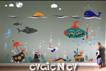 Nursery Decoration / Nursery Decor ideas and kids space wall art, easy to use, apply and change.