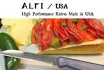 Alfi USA All Purpose American Made Knives / Alfi High Performance Knives are Made in USA with great pride and care by a family owned & operated small business. Alfi knives are unique because they deliver unbeatable all-purpose cutting performance, without any of the high-cost, high-maintenance, frequent-sharpening, fragility, and overall fussiness of other professional/premium-quality knives. Value-priced to be an essential staple in every kitchen. #Kitchen #Knives #Baking #Cooking #AmericanMade #MadeinUSA http://www.alfiusa.com/ / by Buy American for America Made in USA Create Jobs