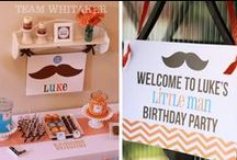 Celebrate + Little Man 'Stache / Have a blast at your LITTLE MAN and MUSTACHE party with these party FOOD ideas and DESSERT table, 'stache ACTIVITIES, cool T-SHIRTS, PRINTABLES and party FAVORS.