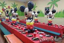 """Trending...Mickey/Minnie Mouse / Scooter's Jungle supplies the Cool 'Place' for you to celebrate your 100% Private Party in an active environment!  Our Dining Rooms look great with a Tropical """"Flair"""", but you can also dress them up to match your special theme!  (Decor supplied by our host parents, 'magical' set-up done by our amazing staff!)"""