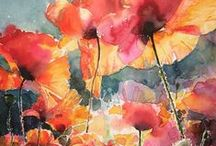 Watercolor florals / Pinterest has made me see what I really want to attain in watercolor. These florals have just enough detail to see the subject but are a wonderful, loose use of the medium.  I have attempted many of these subjects falling way short of this goal.